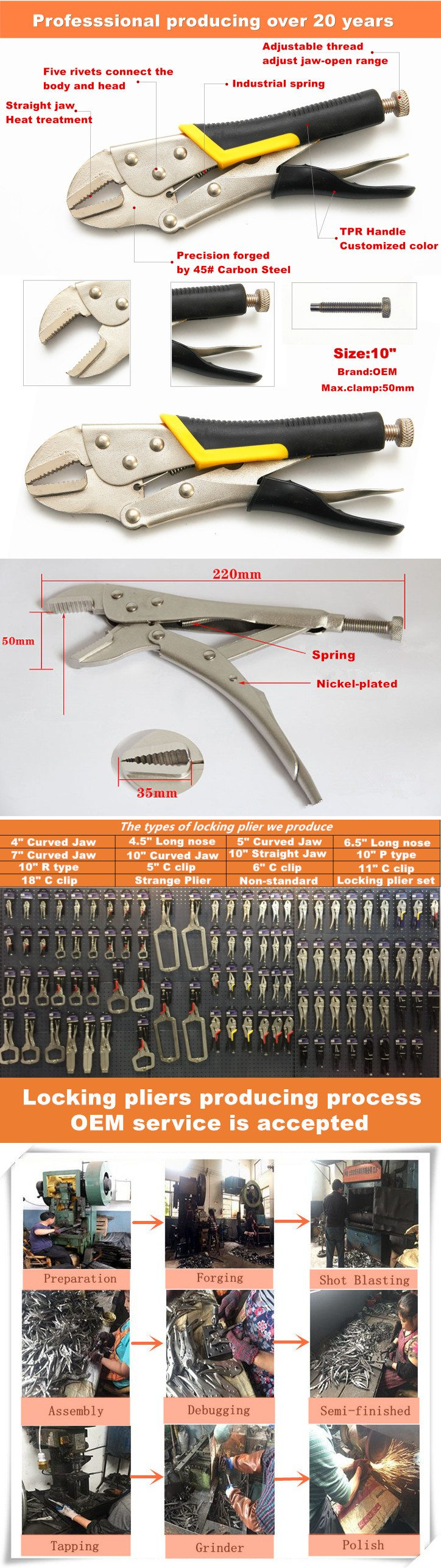10″ Backhand Straight Jaw Locking Pliers with Jacket