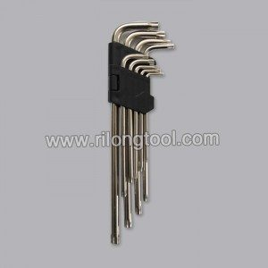 9-PCS Double Star-type Hex Key Sets packaged by folded plastic frame