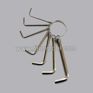 7-PCS Hex Key Sets packaged by spring ring