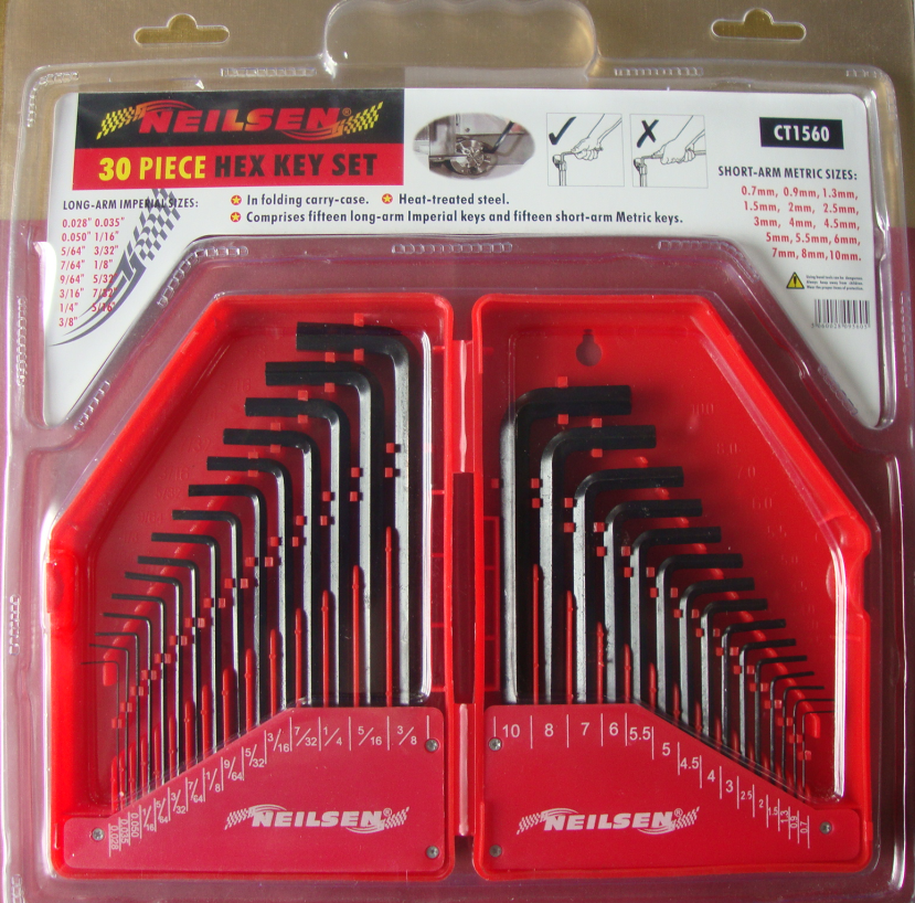 30-PCS Hex Key Sets packaged by BMC surface by Black Oxide